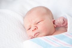 Infant Baby With Hospital Blanket Royalty Free Stock Photography