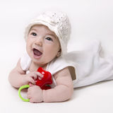 Infant baby looking up with open mouth Stock Photography