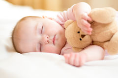 Infant baby sleeping with plush toy Royalty Free Stock Image