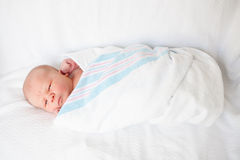 Infant Baby Swaddled in Hospital Blanket Stock Photography