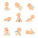 Infant baby vector characters. Newborn in different activity isolated on white. Child character girl and boy illustration stock illustration