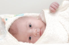 Infant In Bath Towel Stock Photography
