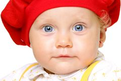 Infant with big blue eyes Stock Photo
