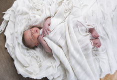 Infant with blanket in bed Royalty Free Stock Images