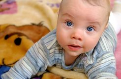 Infant with blue eyes Royalty Free Stock Image