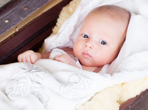 Infant boy. Laying on the table Stock Photography
