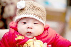 Infant boy. Infant baby boy with  hat Royalty Free Stock Photos