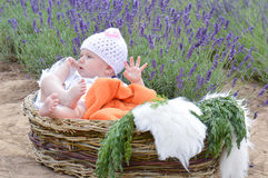 Infant boy in bunny suit Stock Photos