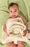 Infant Boy Lying on Baby Blankets Wearing a Diaper stock images