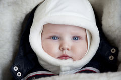 Infant boy is lying in a stroller in winter clothes Stock Images