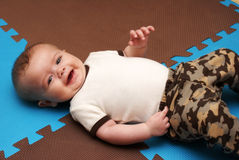 Infant Boy On Play Mat Royalty Free Stock Photo