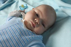 Infant boy refusing a dummy Royalty Free Stock Photography
