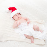 Infant boy in Santa hat Royalty Free Stock Photography