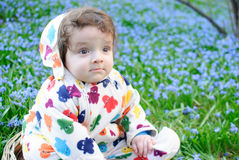 Infant boy sit basket snowdrops field Royalty Free Stock Photos