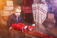 Infant boy wearing ski royalty free stock photos