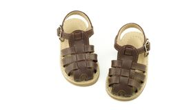 Infant Brown Leather Shoes for Boys Stock Images
