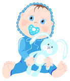 Infant with bunny. Vector illustration of infant with bunny on a white background Stock Photo