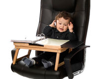 Infant Businessman on Cell Phone royalty free stock photo