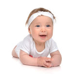 Infant child baby girl in body lying happy smiling laughing isol Royalty Free Stock Photo
