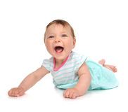 Infant child baby girl in body lying happy smiling laughing isol Stock Image