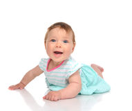 Infant child baby girl in body lying happy smiling laughing Royalty Free Stock Images