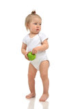Infant child baby girl kid toddler in white body cloth make firs Royalty Free Stock Image
