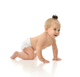 Infant child baby girl toddler crawling smiling laughing stock photos