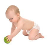 Infant child baby infant girl hold apple Royalty Free Stock Photography