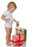 Infant child baby toddler kid preparing presents gifts Stock Images