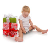 Infant child baby toddler kid with tablet pc device ordering pre Stock Image