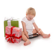 Infant child baby toddler kid with tablet pc device ordering pre Stock Photos