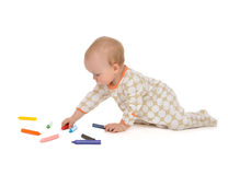 Infant child baby toddler sitting drawing painting Stock Photography