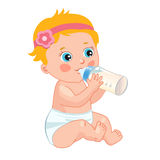 Infant Child Baby Toddler Sitting And Drinking From The Feeding Bottle. Cute Baby Girl Drinking Bottle. Vector Isolated On A White Background Royalty Free Stock Photos