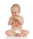 Infant child baby toddler sitting and drinking water Stock Images