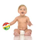 Infant child baby toddler sitting with medical stethoscope for p Stock Photos