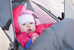 Infant child in carriage Royalty Free Stock Photography