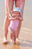 Infant child walk in water Royalty Free Stock Images