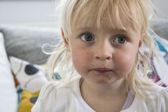 Infant with chocolate mouth Royalty Free Stock Photography