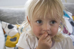 Infant with chocolate mouth Royalty Free Stock Photos