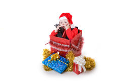 Infant in christmas box #1 Stock Image