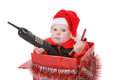 Infant in christmas box #2 Stock Images