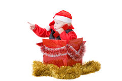 Infant in christmas box #4 Royalty Free Stock Image