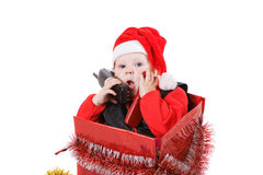 Infant in christmas box #6 Stock Photos