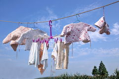 Infant clothes drying Leshan Qianwei Kayo train banana Town Stock Photos