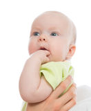 Infant cute child baby girl on mother hands Royalty Free Stock Image