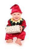 Infant dressed in elfs santas little helper fancy dress costume Royalty Free Stock Image