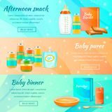 Infant Food Horizontal Banners. Baby food banners realistic 3d collection with read more button text and infant food package images vector illustration Royalty Free Stock Photos