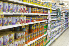Infant Formula. Row of infant formula in a supermarket shelves. Photo was taken on 22 November 2012 Royalty Free Stock Image