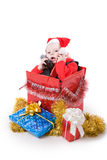 Infant with gifts in box #1 Royalty Free Stock Image