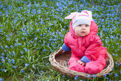 Infant girl in the basket Stock Photo